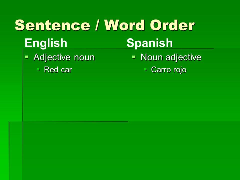 Sentence / Word Order  Adjective noun  Red car  Noun adjective  Carro rojo EnglishSpanish