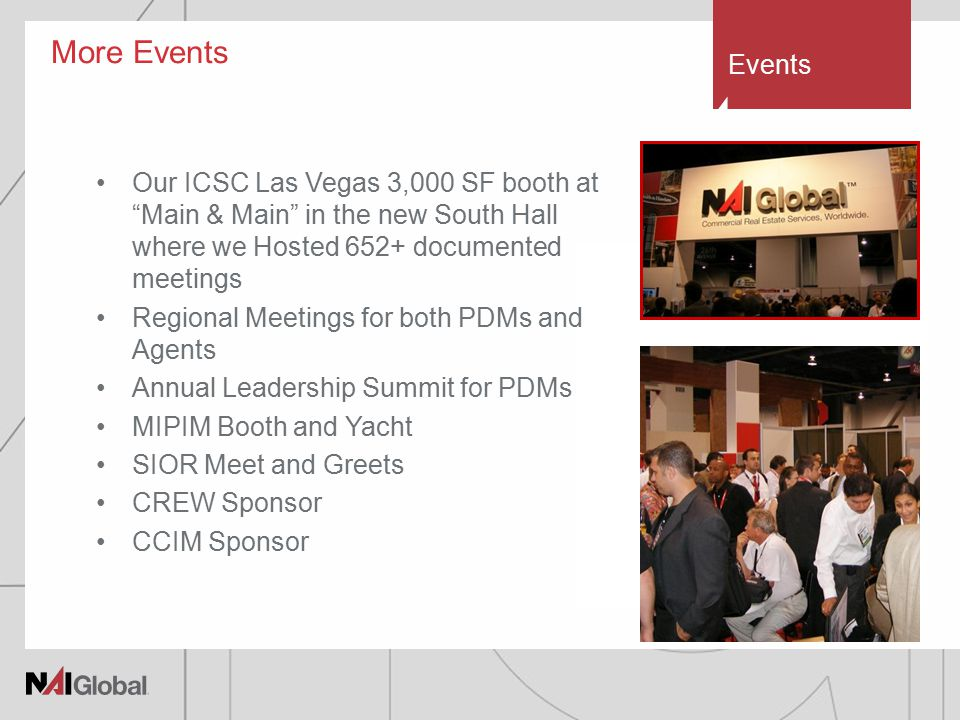 More Events Our ICSC Las Vegas 3,000 SF booth at Main & Main in the new South Hall where we Hosted 652+ documented meetings Regional Meetings for both PDMs and Agents Annual Leadership Summit for PDMs MIPIM Booth and Yacht SIOR Meet and Greets CREW Sponsor CCIM Sponsor Events