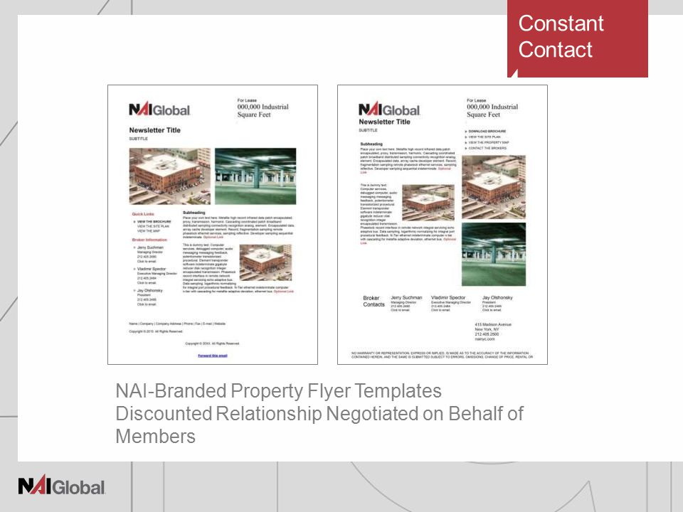 Constant Contact NAI-Branded Property Flyer Templates Discounted Relationship Negotiated on Behalf of Members