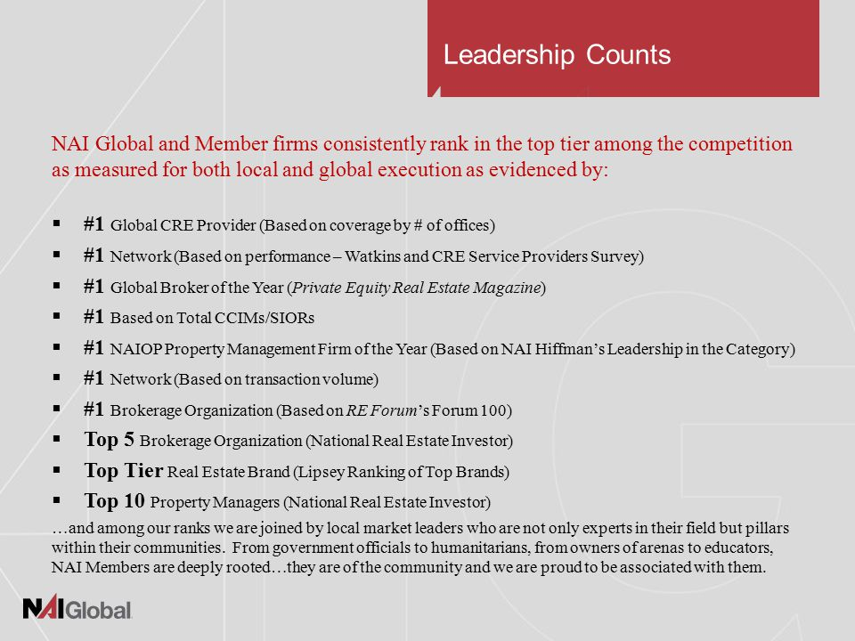 Leadership Counts NAI Global and Member firms consistently rank in the top tier among the competition as measured for both local and global execution as evidenced by:  #1 Global CRE Provider (Based on coverage by # of offices)  #1 Network (Based on performance – Watkins and CRE Service Providers Survey)  #1 Global Broker of the Year (Private Equity Real Estate Magazine)  #1 Based on Total CCIMs/SIORs  #1 NAIOP Property Management Firm of the Year (Based on NAI Hiffman's Leadership in the Category)  #1 Network (Based on transaction volume)  #1 Brokerage Organization (Based on RE Forum's Forum 100)  Top 5 Brokerage Organization (National Real Estate Investor)  Top Tier Real Estate Brand (Lipsey Ranking of Top Brands)  Top 10 Property Managers (National Real Estate Investor) …and among our ranks we are joined by local market leaders who are not only experts in their field but pillars within their communities.