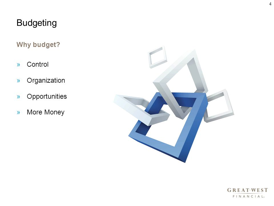 Budgeting Why budget »Control »Organization »Opportunities »More Money 4