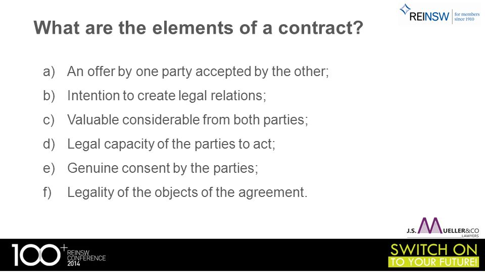 What are the elements of a contract.