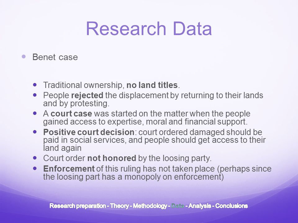 Research Data Benet case Traditional ownership, no land titles.