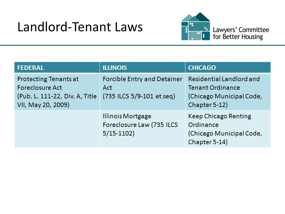 Landlord-Tenant Laws FEDERALILLINOISCHICAGO Protecting Tenants at Foreclosure Act (Pub.