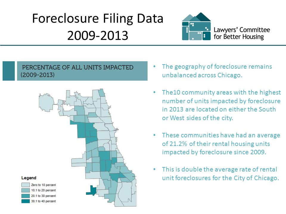 Foreclosure Filing Data 2009-2013 The geography of foreclosure remains unbalanced across Chicago.