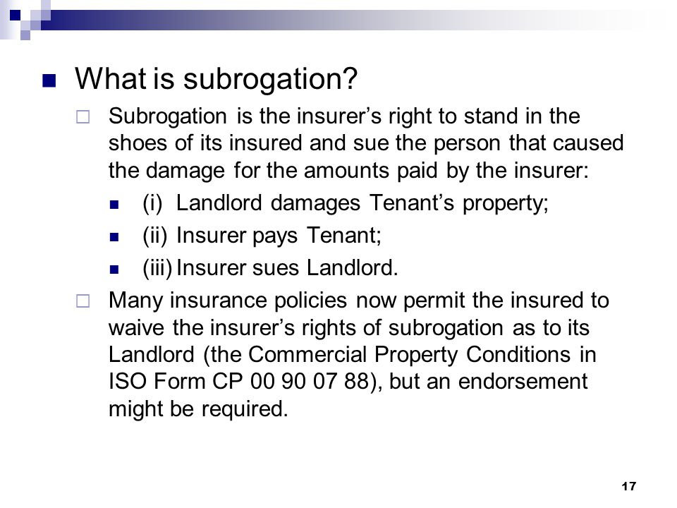 What is subrogation.
