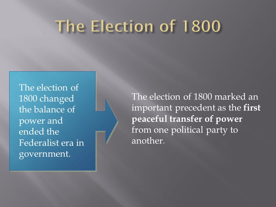 The election of 1800 changed the balance of power and ended the Federalist era in government. The election of 1800 marked an important precedent as th