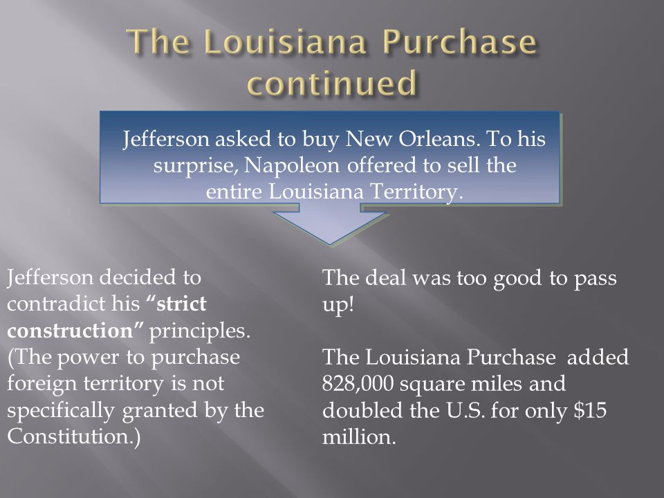 """Jefferson asked to buy New Orleans. To his surprise, Napoleon offered to sell the entire Louisiana Territory. Jefferson decided to contradict his """"str"""
