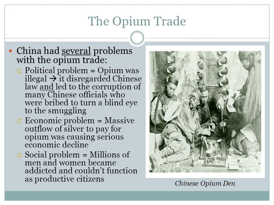 The Opium Trade 1836 = Chinese emperor decided to crack down on opium use Millions of pounds of opium seized from traders and destroyed without compensation Western merchants expelled from the country British response = sent naval expedition to China  Offended by violation of property rights  Wanted to end the restrictive conditions under which they'd long traded with China Result = 1 st Opium War Confiscated opium being burned