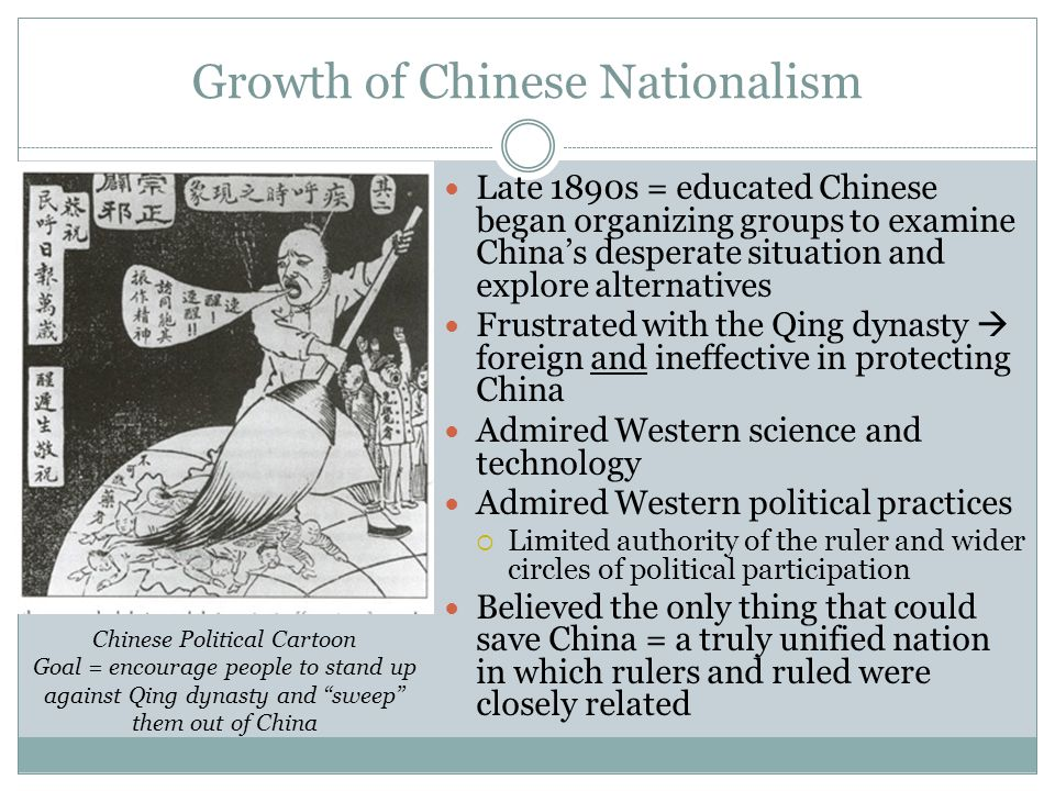 Growth of Chinese Nationalism Late 1890s = educated Chinese began organizing groups to examine China's desperate situation and explore alternatives Fr