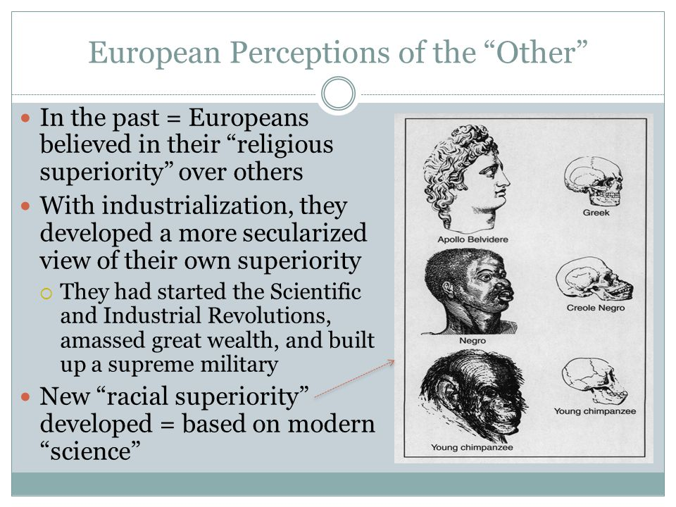 """European Perceptions of the """"Other"""" In the past = Europeans believed in their """"religious superiority"""" over others With industrialization, they develop"""