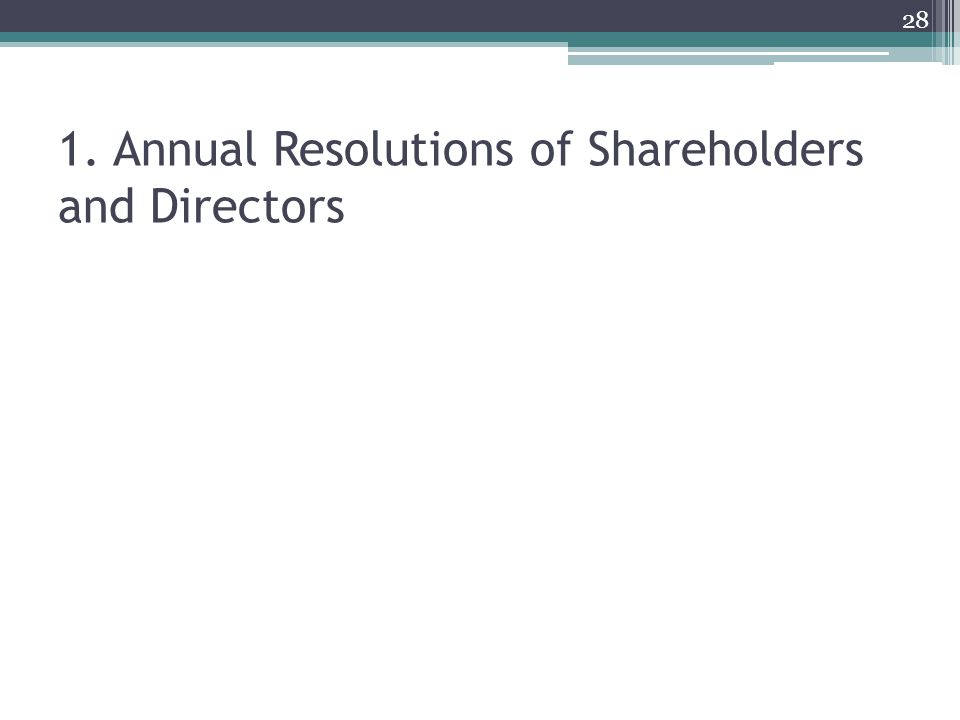 1. Annual Resolutions of Shareholders and Directors 28