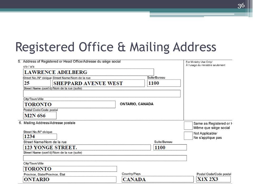 Registered Office & Mailing Address 36