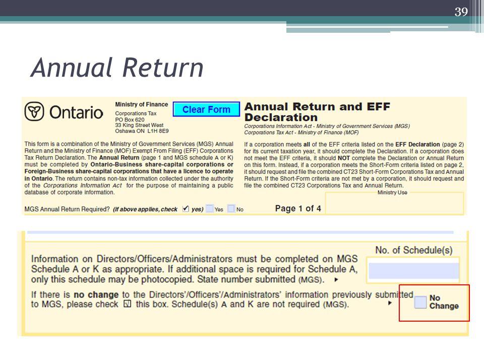 Annual Return 39