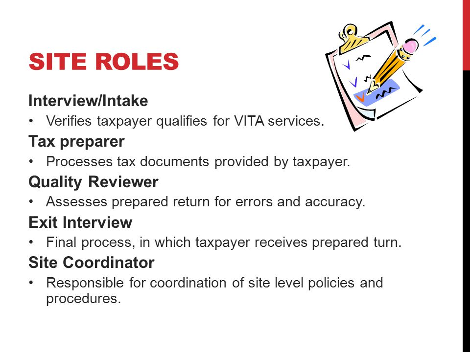 SITE ROLES Interview/Intake Verifies taxpayer qualifies for VITA services.