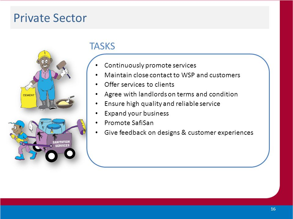 Private Sector 16 TASKS Continuously promote services Maintain close contact to WSP and customers Offer services to clients Agree with landlords on te