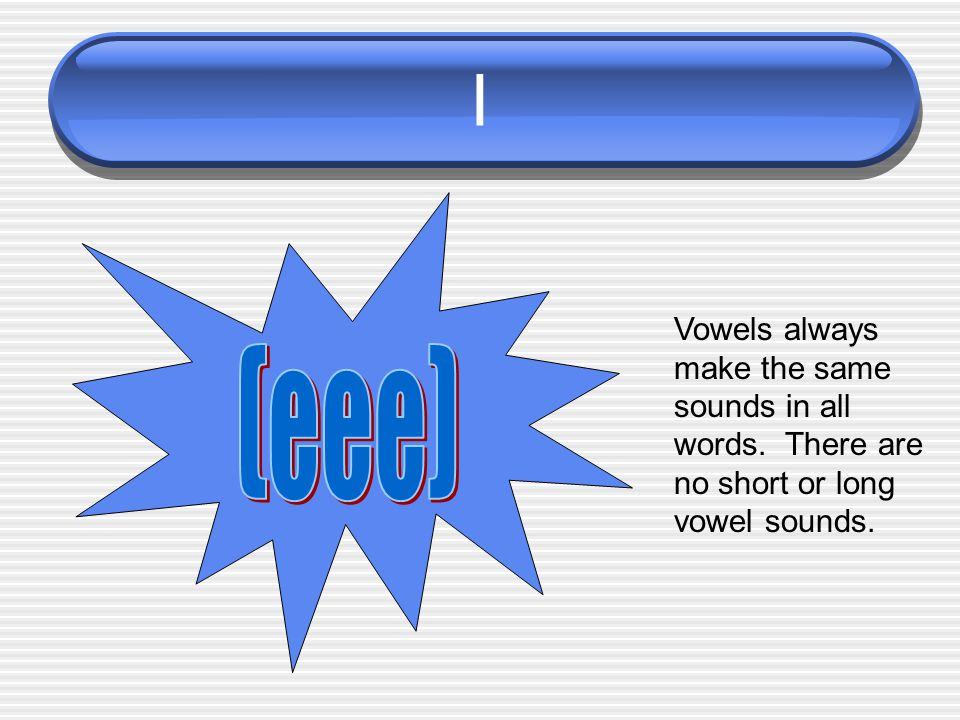 I Vowels always make the same sounds in all words. There are no short or long vowel sounds.