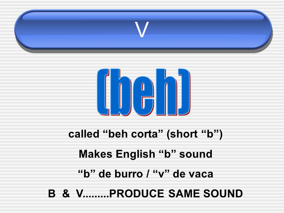 V called beh corta (short b ) Makes English b sound b de burro / v de vaca B & V.........PRODUCE SAME SOUND
