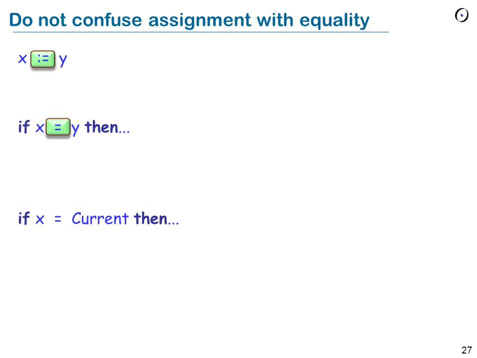 27 x := y if x = y then... if x = Current then... Do not confuse assignment with equality
