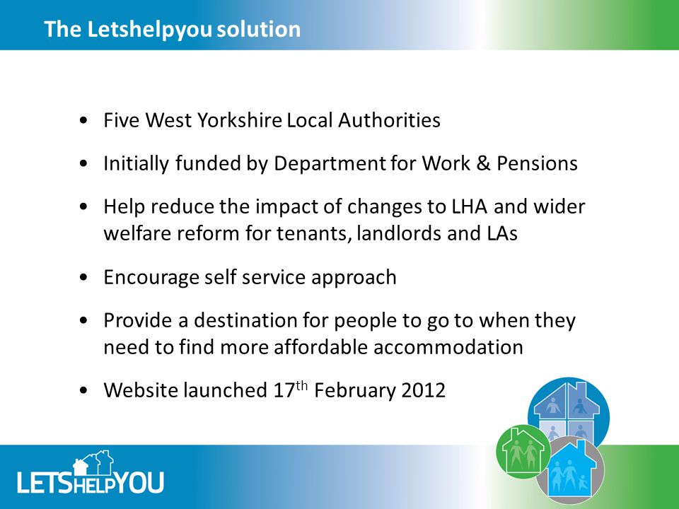 The Letshelpyou solution Five West Yorkshire Local Authorities Initially funded by Department for Work & Pensions Help reduce the impact of changes to LHA and wider welfare reform for tenants, landlords and LAs Encourage self service approach Provide a destination for people to go to when they need to find more affordable accommodation Website launched 17 th February 2012
