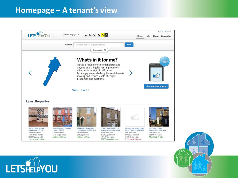 Homepage – A tenant's view