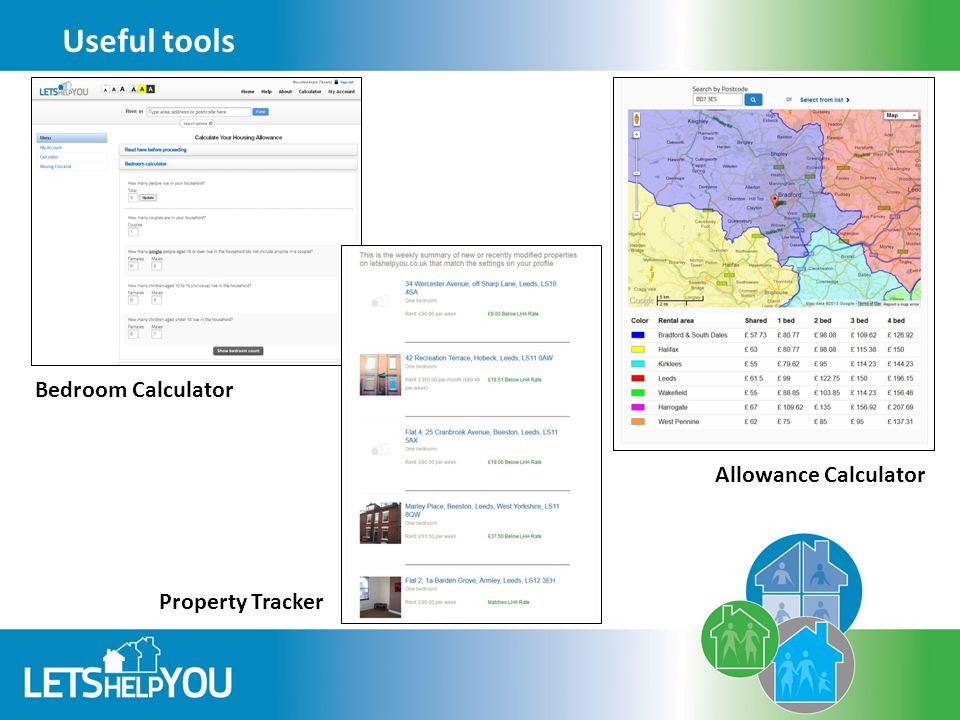 Useful tools Property Tracker Bedroom Calculator Allowance Calculator