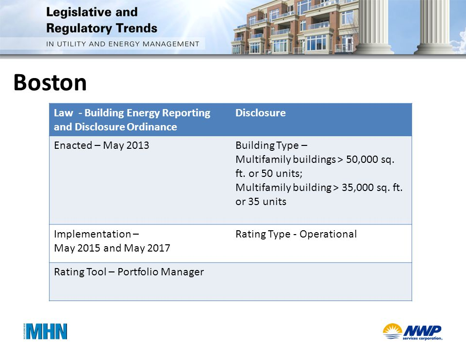 Boston Law - Building Energy Reporting and Disclosure Ordinance Disclosure Enacted – May 2013Building Type – Multifamily buildings > 50,000 sq.