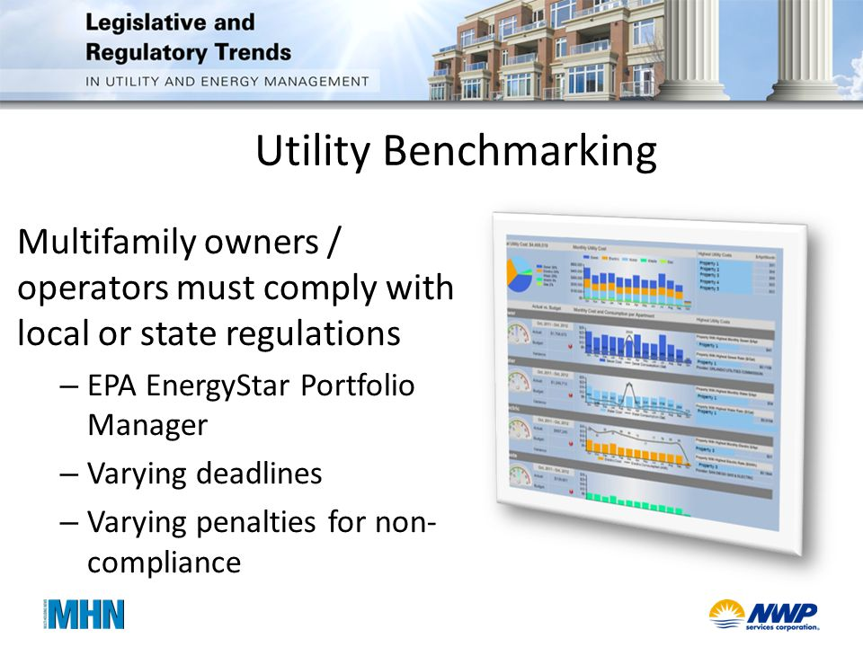Utility Benchmarking Multifamily owners / operators must comply with local or state regulations – EPA EnergyStar Portfolio Manager – Varying deadlines – Varying penalties for non- compliance