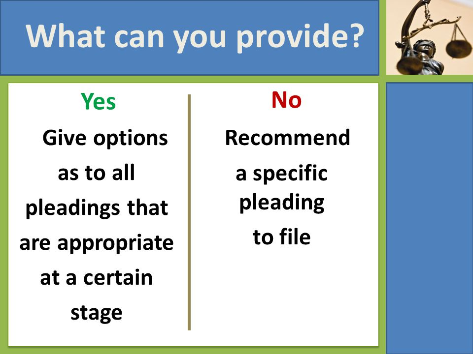 What can you provide? Yes Give options as to all pleadings that are appropriate at a certain stage No Recommend a specific pleading to file