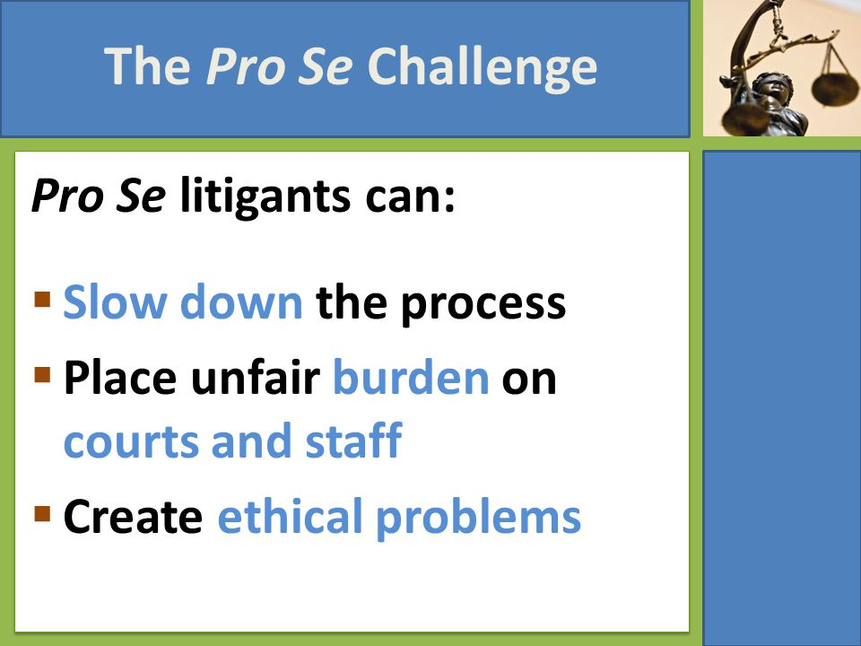The Pro Se Challenge Pro Se litigants can:  Slow down the process  Place unfair burden on courts and staff  Create ethical problems