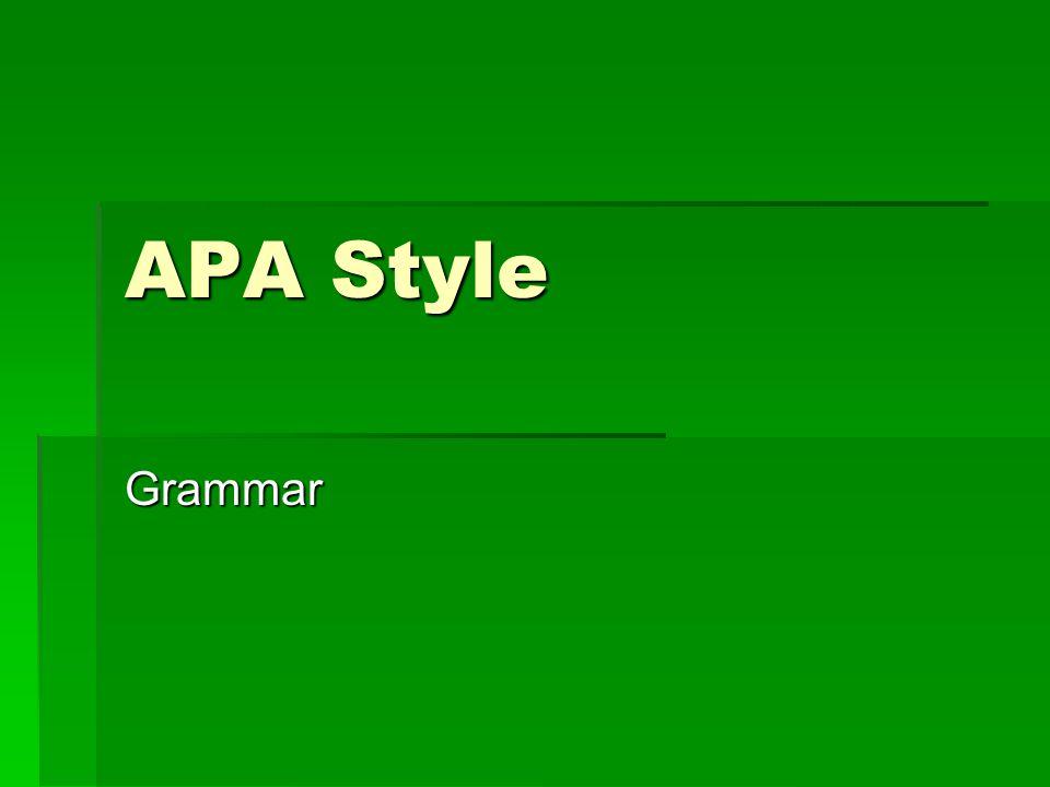 APA Style Grammar