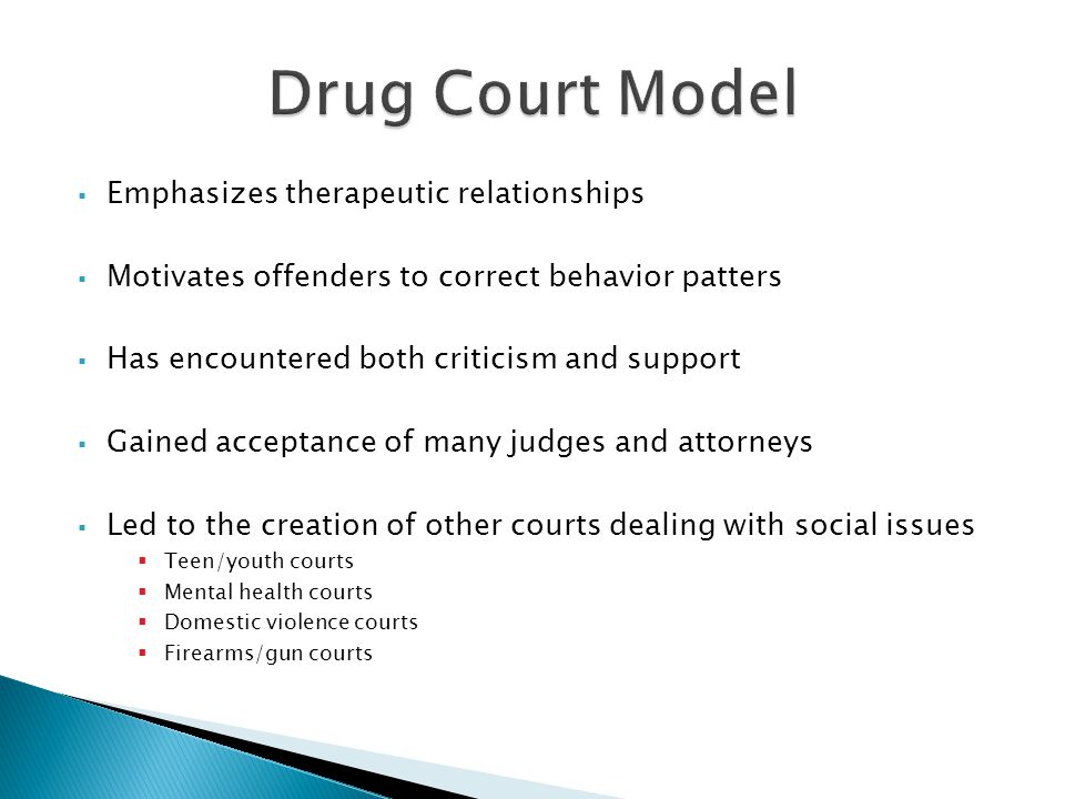  Emphasizes therapeutic relationships  Motivates offenders to correct behavior patters  Has encountered both criticism and support  Gained acceptance of many judges and attorneys  Led to the creation of other courts dealing with social issues  Teen/youth courts  Mental health courts  Domestic violence courts  Firearms/gun courts