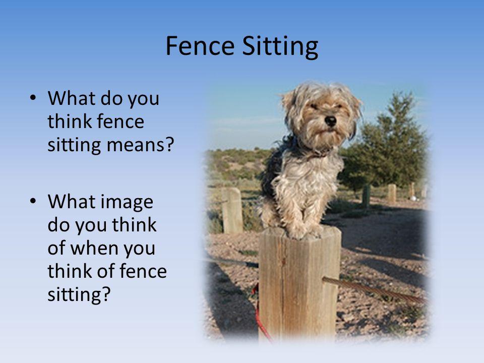 Fence Sitting What do you think fence sitting means? What image do you think of when you think of fence sitting?