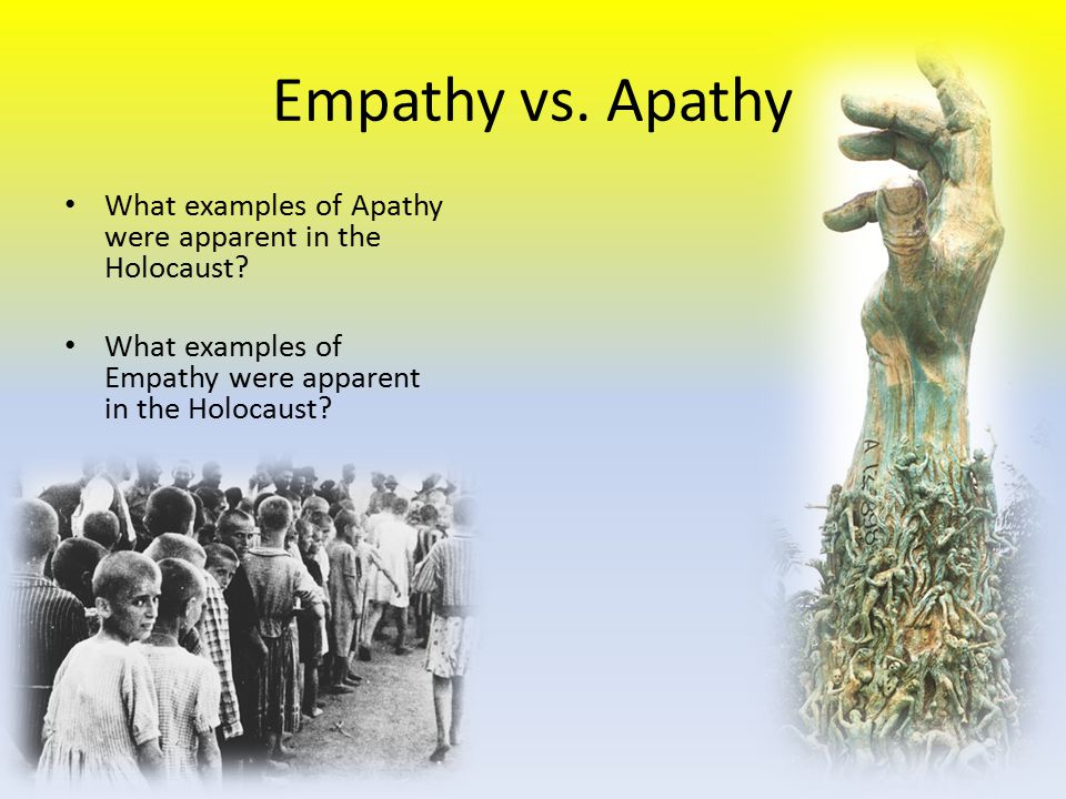 Empathy vs. Apathy What examples of Apathy were apparent in the Holocaust? What examples of Empathy were apparent in the Holocaust?