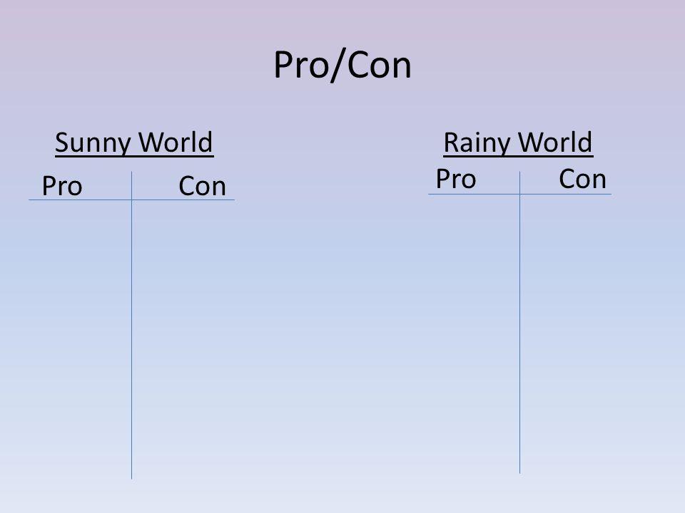 Pro/Con Sunny World ProCon Rainy World Pro Con