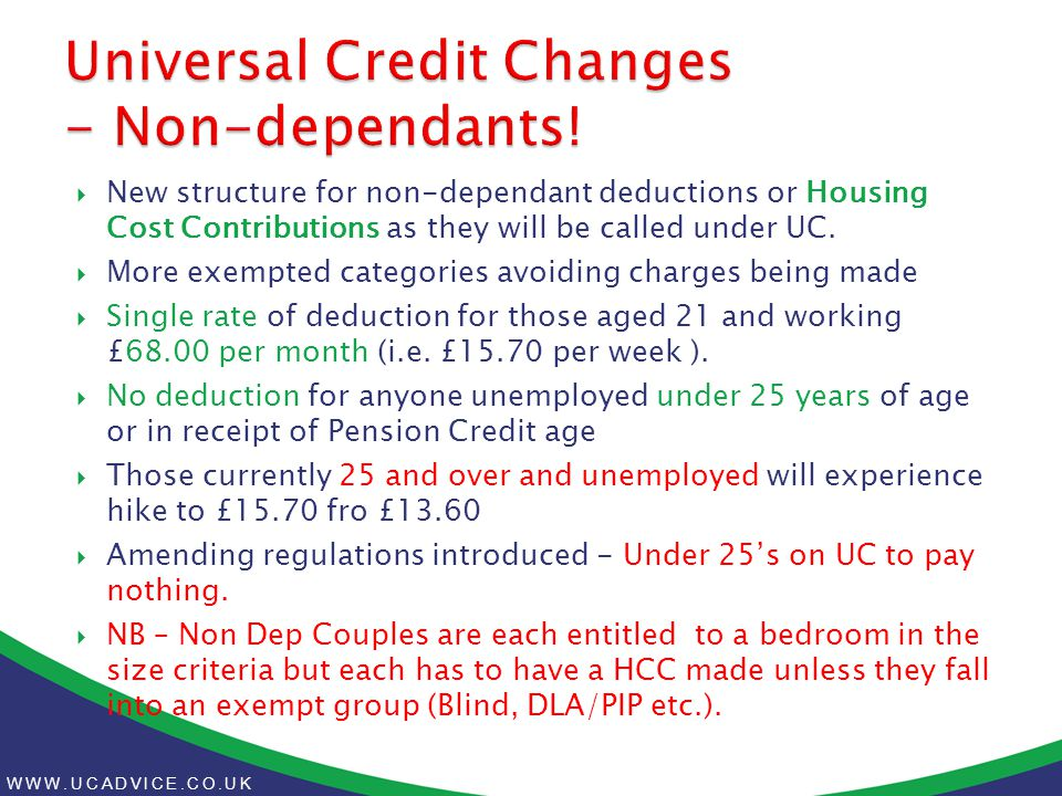 WWW.UCADVICE.CO.UK  New structure for non-dependant deductions or Housing Cost Contributions as they will be called under UC.