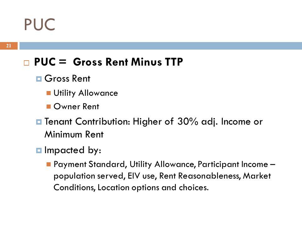 PUC  PUC = Gross Rent Minus TTP  Gross Rent Utility Allowance Owner Rent  Tenant Contribution: Higher of 30% adj.