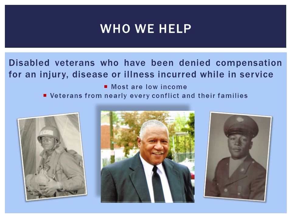 The VLC is situated in a region with a substantial veteran population.