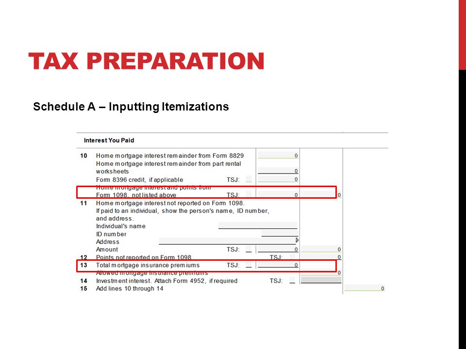 TAX PREPARATION Schedule A – Inputting Itemizations