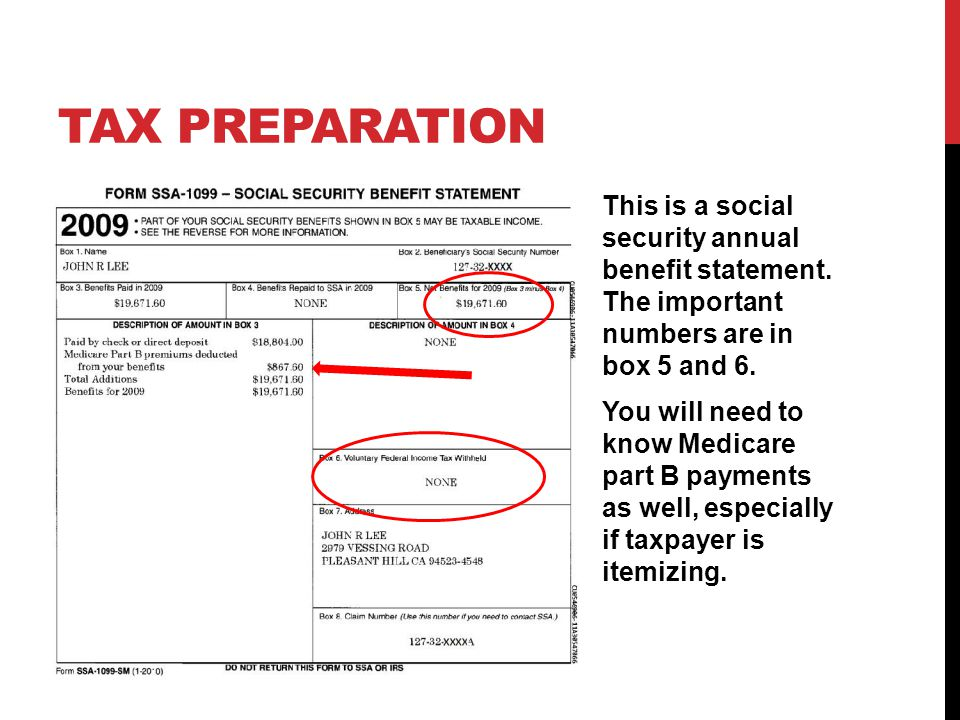 TAX PREPARATION This is a social security annual benefit statement.