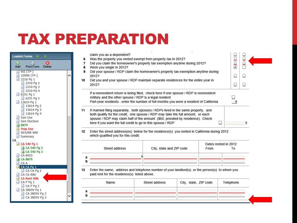 TAX PREPARATION Custom er needs landlord info. or cannot claim
