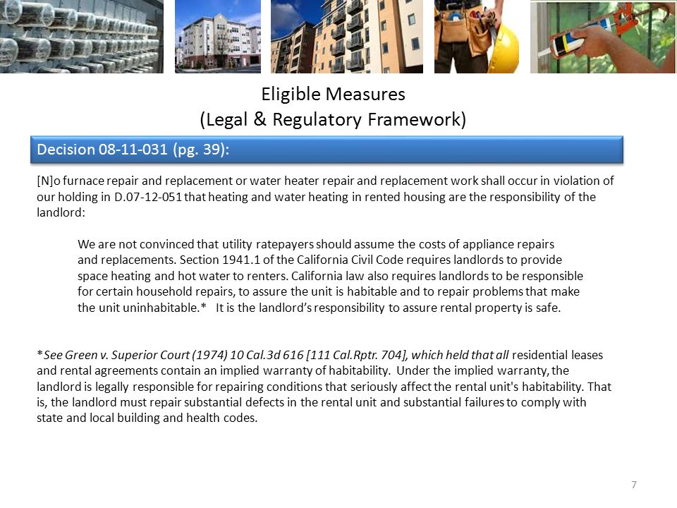 Eligible Measures (Legal & Regulatory Framework) Decision 08-11-031 (pg.