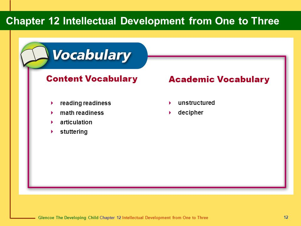 Glencoe The Developing Child Chapter 12 Intellectual Development from One to Three Chapter 12 Intellectual Development from One to Three 12 Content Vocabulary reading readiness math readiness articulation stuttering Academic Vocabulary unstructured decipher