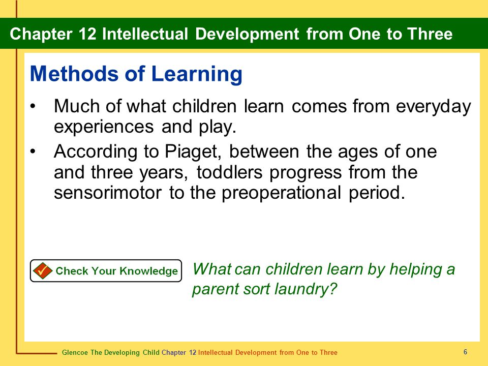 Glencoe The Developing Child Chapter 12 Intellectual Development from One to Three Chapter 12 Intellectual Development from One to Three 6 Methods of Learning Much of what children learn comes from everyday experiences and play.