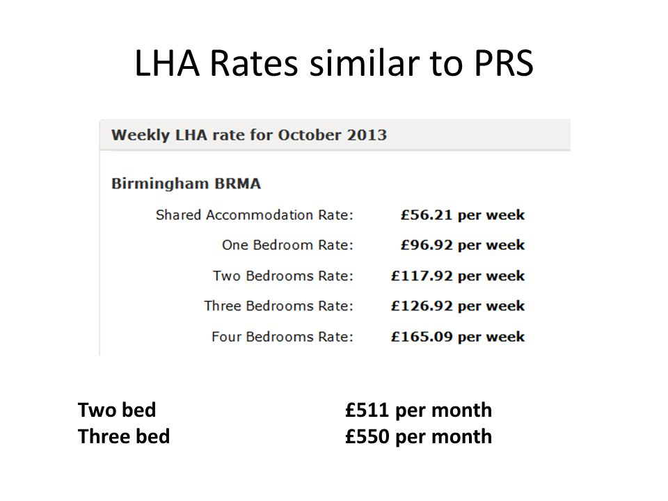 LHA Rates similar to PRS Two bed £511 per month Three bed£550 per month