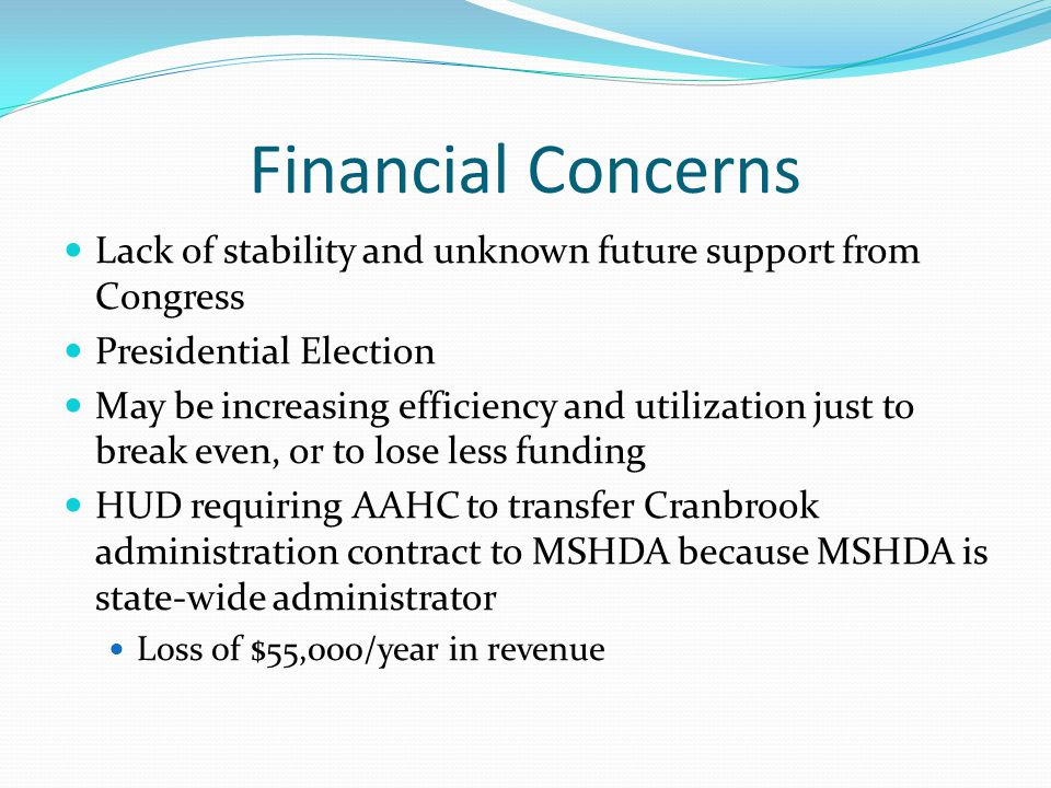 Financial Concerns Lack of stability and unknown future support from Congress Presidential Election May be increasing efficiency and utilization just to break even, or to lose less funding HUD requiring AAHC to transfer Cranbrook administration contract to MSHDA because MSHDA is state-wide administrator Loss of $55,000/year in revenue