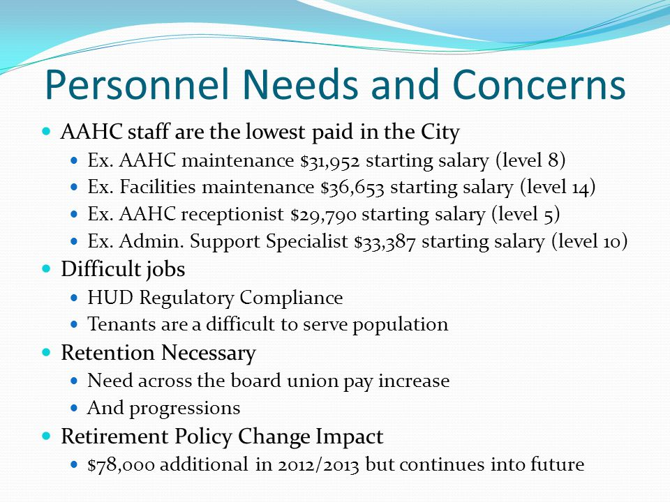 Personnel Needs and Concerns AAHC staff are the lowest paid in the City Ex.