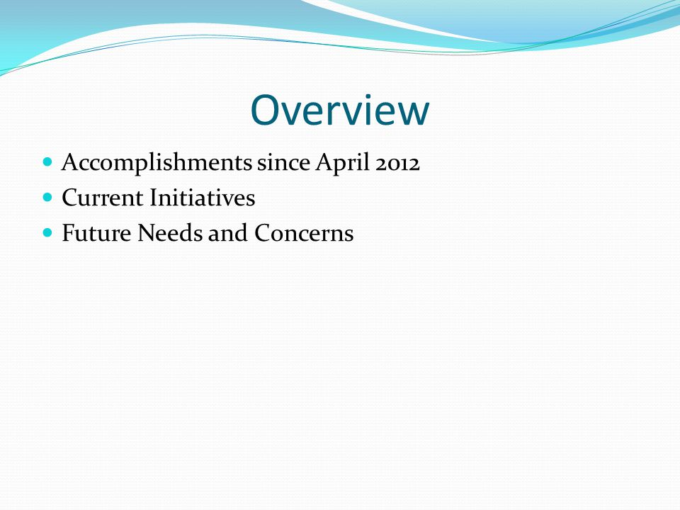 Overview Accomplishments since April 2012 Current Initiatives Future Needs and Concerns