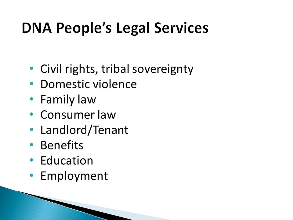 Civil rights, tribal sovereignty Domestic violence Family law Consumer law Landlord/Tenant Benefits Education Employment