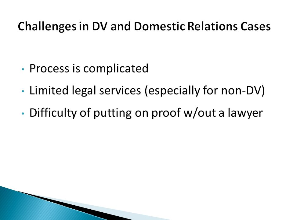Process is complicated Limited legal services (especially for non-DV) Difficulty of putting on proof w/out a lawyer